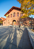 Students walking in front of the Royall Tyler Theatre, Fall UVM Campus