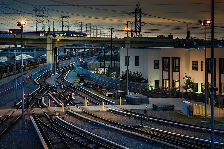 Rail tracks in urban environment in America