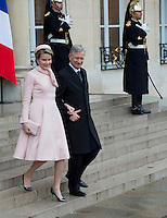 King Philippe & Queen Mathilde of Belgium meet with François Hollande - France