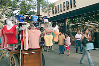 Santa Monica, CA, Third Street Promenade,  outdoor shopping, mall, Shoppers, Retail Cart, City by the Bay, tourists, Street Performer High dynamic range imaging (HDRI or HDR)
