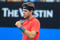 Juan Martin del Potro of Argentina reacts after defeating Dmitry Tursunov of Russia during their semi-final match at the Sydney International tennis tournament, Jan. 10, 2014.  Daniel Munoz/Viewpress IMAGE RESTRICTED TO EDITORIAL USE ONLY