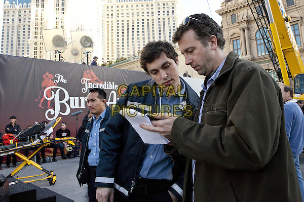 Screenwriters JOHN FRANCIS DALEY & JONATHAN GOLDSTEIN.on the set of The Incredible Burt Wonderstone (2013) .*Filmstill - Editorial Use Only*.CAP/FB.Supplied by Capital Pictures.