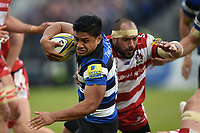 Ben Tapuai of Bath Rugby takes on the Gloucester Rugby defence. Aviva Premiership match, between Bath Rugby and Gloucester Rugby on April 30, 2017 at the Recreation Ground in Bath, England. Photo by: Patrick Khachfe / Onside Images