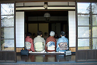 Japanese women attend a formal tea ceremony at a traditional house in the mountain town of Shimosuwa, Nagano Prefecture, on April 29 2008. Formal kimono are still traditionally worn during tea ceremonies.
