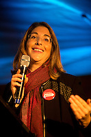 Naomi Klein, an award-winning journalist, syndicated columnist and author, speaks to the crowd in Occidental Park during the People's Climate March in Seattle, Wash. on October 14, 2015. (photo © Karen Ducey for the Sierra Club)