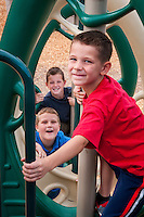 Stacy and Rich Johnson's boys,  front to back, Travis, 6, Daniel 9, and Cooper, 7, at Paseo Vista Park in Chandler.