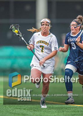 25 April 2015: University of Vermont Catamount Midfielder Gretchen Remien, a Senior from Winnetka, IL, in action against the University of New Hampshire Wildcats at Virtue Field in Burlington, Vermont. The Lady Catamounts defeated the Lady Wildcats 12-10 in the final game of the season, advancing to the America East playoffs. Mandatory Credit: Ed Wolfstein Photo *** RAW (NEF) Image File Available ***