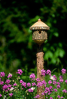 Lovely handmade lathe-turned birdhouse from log sits in garden among purple Dames rocket