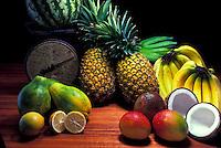 Still life of Island fruits- papaya, banana, coconut, mango, lemon, pineapple, watermelon