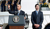 United States President Barack Obama, left, hosts an Arrival Ceremony opening the Official Visit of Prime Minister Justin Trudeau of Canada, right, on the South Lawn of the White House in Washington, DC on Thursday, March 10, 2016. <br /> Credit: Olivier Douliery / Pool via CNP