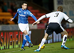 St Johnstone v Dundee....27.11.15  SPFL  McDiarmid Park, Perth<br /> Joe Shaughnessy is closed down by Kevin Holt<br /> Picture by Graeme Hart.<br /> Copyright Perthshire Picture Agency<br /> Tel: 01738 623350  Mobile: 07990 594431