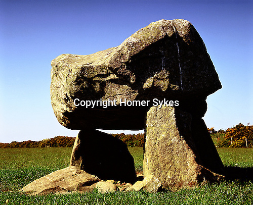 "Llech y Drybedd, Nr Molygrove, Pembrokshire Wales. Uk Celtic Britain published by Orion. Translates into English as the ""Stone of Three Graves"". Squat burial chamber all that remains of a prehistoric Neolithic Long Barrow."
