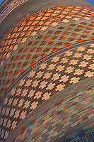 Detail of decorative bands, Kalta Minor, Khiva, Uzbekistan, pictured on July 5, 2010, at sunset. The Kalta Minor or Short Minaret was commissioned by Mohammed Amin Khan in 1852 to stand 70 m. high, but was abandoned when he died in 1855, and remains only 26 m. high. Khiva, ancient and remote, is the most intact Silk Road city. Ichan Kala, its old town, was the first site in Uzbekistan to become a World Heritage Site(1991). Picture by Manuel Cohen.