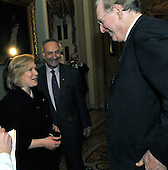 Washington, DC - January 27, 2009 -- United States Senator Kirsten Gillibrand (Democrat of New York), left, speaks with United States Senator Jay Rockefeller (Democrat of West Virginia), right, as United States Senator Chuck Schumer (Democrat of New York), center, looks on in the United States Capitol in Washington, D.C. on Tuesday, January 27, 2009..Credit: Ron Sachs / CNP.(RESTRICTION: NO New York or New Jersey Newspapers or newspapers within a 75 mile radius of New York City)