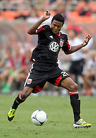 WASHINGTON, D.C. - AUGUST 19, 2012:  Lionard Pajoy (26) of DC United against the Philadelphia Union during an MLS match at RFK Stadium, in Washington DC, on August 19. The game ended in a 1-1 tie.