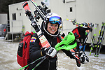 FRANCONIA, NH - MARCH 10:   A University of Colorado athlete heads towards the base area to compete in Women's Slalom event at the Division I Men's and Women's Skiing Championships held at Cannon Mountain on March 10, 2017 in Franconia, New Hampshire. (Photo by Gil Talbot/NCAA Photos via Getty Images)