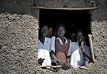 Students look out a classroom window in Detang, a small village across the Upper Nile River from Malakal, in Southern Sudan. Teachers in this school are participating in a training program run by Solidarity with Southern Sudan, an international network of Catholic groups supporting Southern Sudan with educational personnel and prayer.