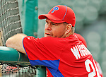 9 March 2012: Philadelphia Phillies infielder Ty Wigginton awaits his turn in the batting cage prior to a Spring Training game against the Detroit Tigers at Joker Marchant Stadium in Lakeland, Florida. The Phillies defeated the Tigers 7-5 in Grapefruit League action. Mandatory Credit: Ed Wolfstein Photo