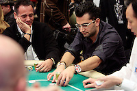 28 February 2009: Pro player Antonio Esfandiari goes all in with his chips during the  7th Annual WPT World Poker Tour Invitational at the Commerce Casino in Los Angeles, CA. Players compete for poker glory and a  piece of the $200,000 prize pool. Celebrity and Pro card players in action.