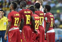FUSSBALL WM 2014  VORRUNDE    GRUPPE G     Deutschland - Ghana                 21.06.2014 Jordan Ayew, John Boye, Mubarak Wakaso, Mohammed Rabiu und Sulley Ali Muntari (v.l., alle Ghana) bilden eine Mauer mit zum Teil sehr tief sitzenden Hosen