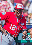 6 March 2016: Washington Nationals Manager Dusty Baker watches his team take batting practice prior to a Spring Training pre-season game against the St. Louis Cardinals at Roger Dean Stadium in Jupiter, Florida. The Nationals defeated the Cardinals 5-2 in Grapefruit League play. Mandatory Credit: Ed Wolfstein Photo *** RAW (NEF) Image File Available ***