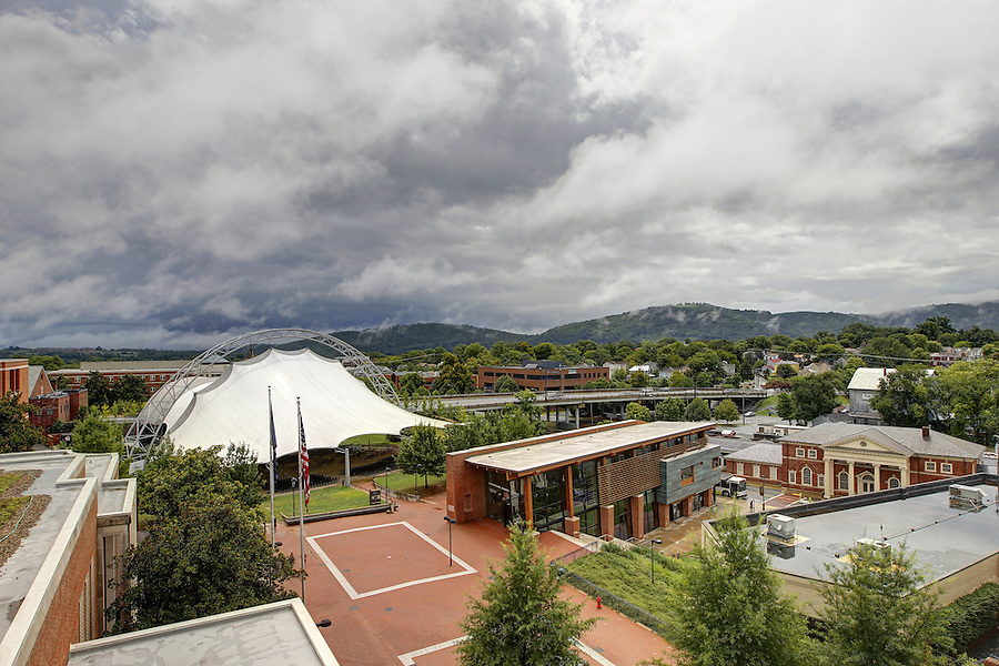 Dark clouds cover the skies over the ntelos Wireless Pavilion and the downtown transit center in Charlottesville, VA. Photo/Andrew Shurtleff