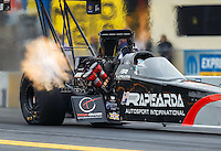 Oct 1, 2016; Mohnton, PA, USA; NHRA top fuel driver Larry Dixon during qualifying for the Dodge Nationals at Maple Grove Raceway. Mandatory Credit: Mark J. Rebilas-USA TODAY Sports
