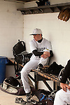 Vale's Austin Dayton in the dugout before the start of the game against New Plymouth at Vale High School's Cammann Field on April 28, 2011.