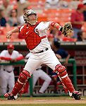 14 June 2006: Brian Schneider, catcher for the Washington Nationals, in action against the Colorado Rockies in Washington, DC. The Rockies defeated the Nationals 14-8 in front of 24,273 fans at RFK Stadium...Mandatory Photo Credit: Ed Wolfstein Photo.