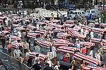 Coffins line the streets of Manhattan. Protest against Iraq war. 2004
