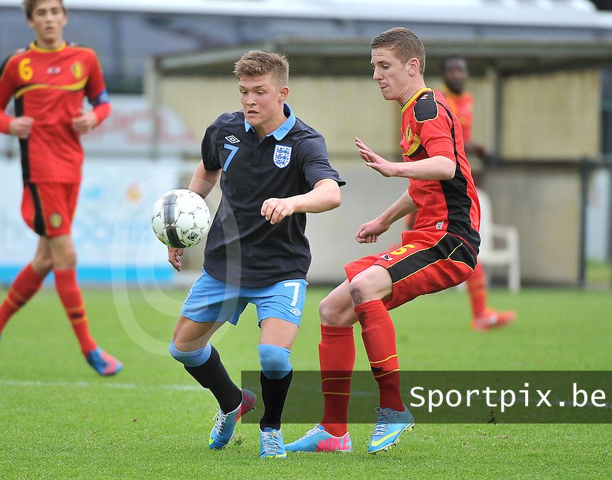 Belgium U19 - England U19 : Maximilian Clayton (7) and Gianni De Neve (16).foto DAVID CATRY / Nikonpro.be