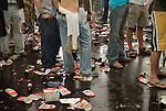 Binge drinking dance floor at the Henley Royal Regatta, Henley on Thames, Oxfordshire, England. 2006, after defeat in World Cup football match against Portugal. Fans photographed in beer tent marquee watching the football game on specially erected televisions sets.
