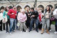 13/10/2010. Crystal Swing Busking. Fans dance with Cork band Crystal Swing as they launch the busking contest outside the Gaiety Theatre, Dublin for the Mooney radio show on RTE. Picture James Horan/Collins Photos
