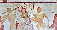 The Church of San Vigilio in Pinzolo and its fresco paintings &ldquo;Dance of Death&rdquo; painted by Simone Baschenis of Averaria in1539, Pinzolo, Trentino, Italy,<br /> <br /> An archbishop pierced with an arrow from the skeletons that are either side of him and represent dead.