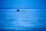 Ice Fishing on a frozen lake in Madison Wisconsin...