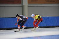 SCHAATSEN: SALT LAKE CITY: Utah Olympic Oval, 12-11-2013, Essent ISU World Cup, training, Ewen Fernandez (FRA), Bart Swings (BEL), ©foto Martin de Jong