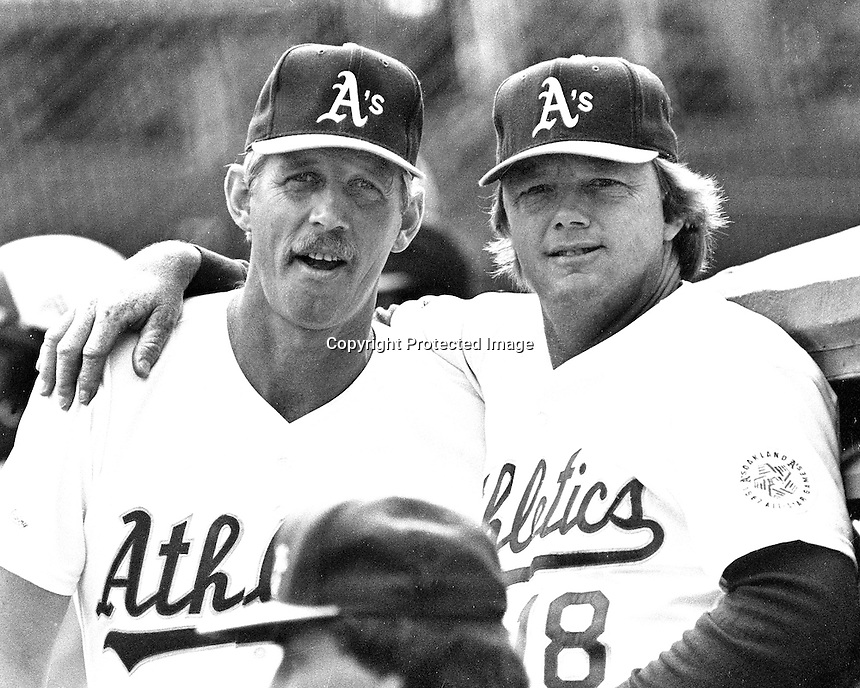 Oakland Athletics Joe Rudi and Dave Duncan.<br />