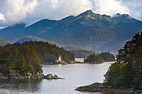 Rockwell Lighthouse is located on Rockwell Island in the Sitka Sound, AK. It was built in 1977 and still operates as a Bed and Breakfast inn. Coastal community of Sitka located on Baranof Island in Alaska's southeast panhandle.