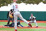 21 February 2015: Hartford's Brian Murphy (23) throws to David MacKinnon (right) at first base to keep Duke's Jalen Phillips (left) close to the bag. The Duke University Blue Devils hosted the University of Hartford Hawks in an NCAA Division I Men's baseball game at Jack Coombs Field in Durham, North Carolina. Duke won the game 5-1.