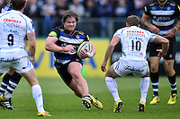 Nick Auterac of Bath Rugby takes on the Exeter Chiefs defence. Aviva Premiership match, between Bath Rugby and Exeter Chiefs on October 17, 2015 at the Recreation Ground in Bath, England. Photo by: Patrick Khachfe / Onside Images