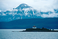 LIGHTHOUSE<br /> Eldred Rock Lighthouse Lynn Canal, Alaska<br /> Chilkat Mountain Range in the background. Eldred Rock is an island in the Lynn Canal.
