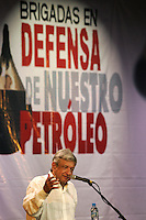 Leftist leader Andres Manuel Lopez Obrador gives a speech during a rally with Oil Defense Brigades in Cordoba, Veracruz, May 30, 2008. Lopez Obrador is heading a tour across the country to fight against the privatization of state-owned Petroleos Mexicanos (PEMEX). Photo by Javier Rodriguez