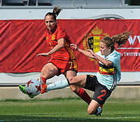 20170408 - EUPEN ,  BELGIUM : Belgian Davina Philtjens (R) and Spanish Marta Corredera (L)  pictured during the female soccer game between the Belgian Red Flames and Spain , a friendly game before the European Championship in The Netherlands 2017  , Saturday 8 th April 2017 at Stadion Kehrweg  in Eupen , Belgium. PHOTO SPORTPIX.BE | DIRK VUYLSTEKE