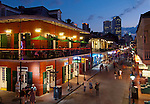 Popular pedestrian friendly Bourbon Street in the French Quarter of New Orleans.