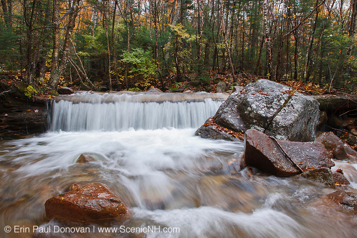 Cascade along Redrock Brook in the Pemigewasset Wilderness of Franconia, New Hampshire during the autumn months. This area was logged during the East Branch & Lincoln Logging Railroad (1893-1948) era.