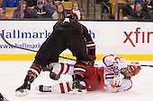 Dax Lauwers (NU - 44), Mike Moran (BU - 11) - The Northeastern University Huskies defeated the Boston University Terriers 3-2 in the opening round of the 2013 Beanpot tournament on Monday, February 4, 2013, at TD Garden in Boston, Massachusetts.