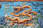 Asia, China, Beijing. Golden Dragon of the Nine Dragon Screen Wall at the Forbidden palace.