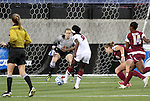 02 December 2011: Stanford's Chioma Ubogagu (9) scores past Florida State's Kelsey Wys (19). The Stanford University Cardinal defeated the Florida State University Seminoles at KSU Soccer Stadium in Kennesaw, Georgia in an NCAA Division I Women's Soccer College Cup semifinal game.