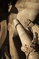 Jesus tied to a pillar and scourged, Passion façade completed late 1980s by the sculptor Josep Maria Subirachs, La Sagrada Familia, Roman Catholic basilica, Barcelona, Catalonia, Spain, built by Antoni Gaudí (Reus 1852 ? Barcelona 1926) from 1883 to his death. Still incomplete. Picture by Manuel Cohen