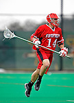 1 April 2008: Fairfield University Stags' Defenseman Matt Petre, a Junior from Somers, NY, in action against the University of Vermont Catamounts at Moulton Winder Field, in Burlington, Vermont. The Catamounts rallied to overcome a five goal deficit and defeat the visiting Stags 9-8 notching their third win of the season...Mandatory Photo Credit: Ed Wolfstein Photo